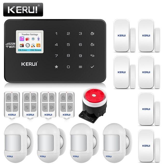 Oryginalny KERUI WIFI GSM włamywacz System alarmowy SMS kontrola aplikacji domu czujnik ruchu PIR czujnik drzwi czujnik alarmowy Alarm
