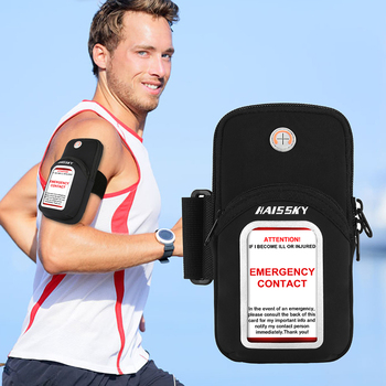 HAISSKY Sports Running Arm Band Bag With Emergency Card Belt On Hand Mobile Phone Pouch For iPhone 12 11 Pro Max SE 2020 Xiaomi