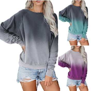 2019 Women's Autumn and Winter European and American Gradient round Neck Pullover Long Sleeve Casual Loose 2019 autumn and winter new european and american women s round neck long sleeved printed lace slim a line dress