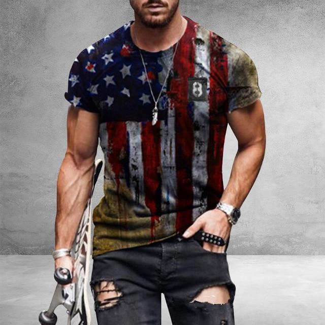 American Flag Printed Men's Casual Fashion T-shirt  1