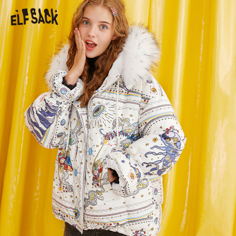 ELFSACK White Cartoon Printed Ruched Winter Women Down Coats 2019 Flounce Sleeve Drawstring Winter Coat Women