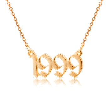 316L Old English year of birth women necklace birthday jewelry personalized gift 1991 1997 1993 1995 1999 1998 1992 1994 1996 year of our birth
