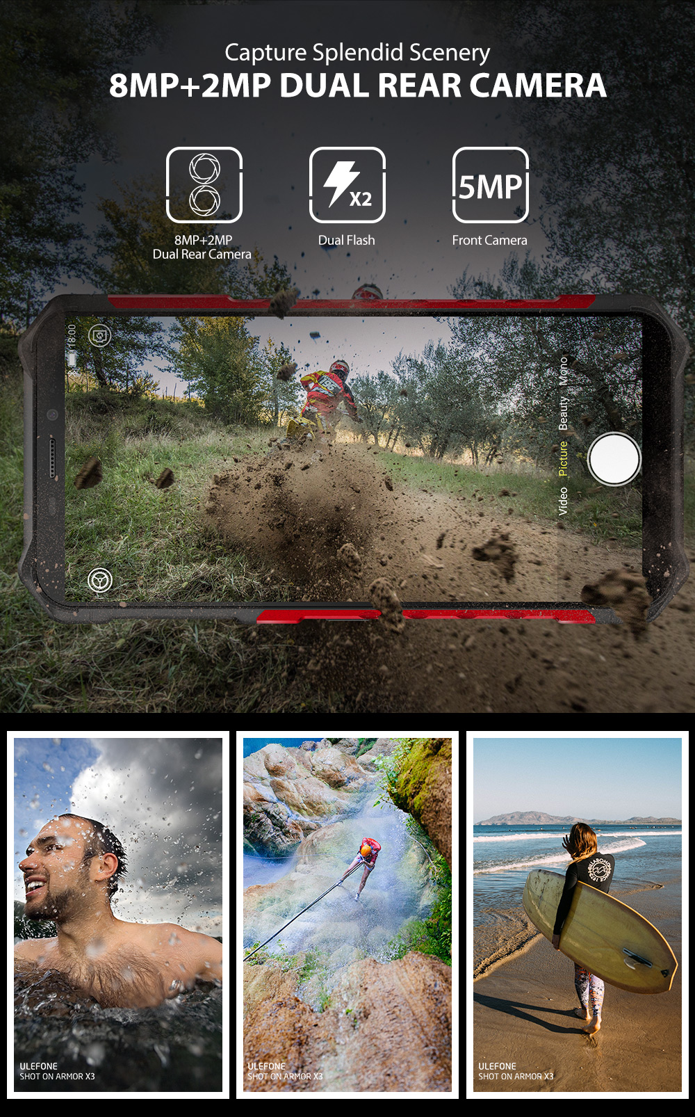 """H417bf36ee3a94be594f759cc6a28b8cbT Ulefone Armor X3 Rugged Smartphone Android 9.0 IP68 Android 5.5"""" 2GB 32GB 5000mAh 3G Rugged Cell Phone Mobile Phone Android"""