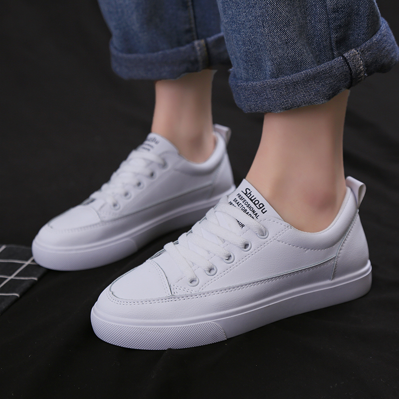 US $19.7  2019 Spring New Fashion Shoes Woman Casual Classic Solid Color PU Leather Shoes Women Casual White Shoes Sneakers fila shoes on AliExpress