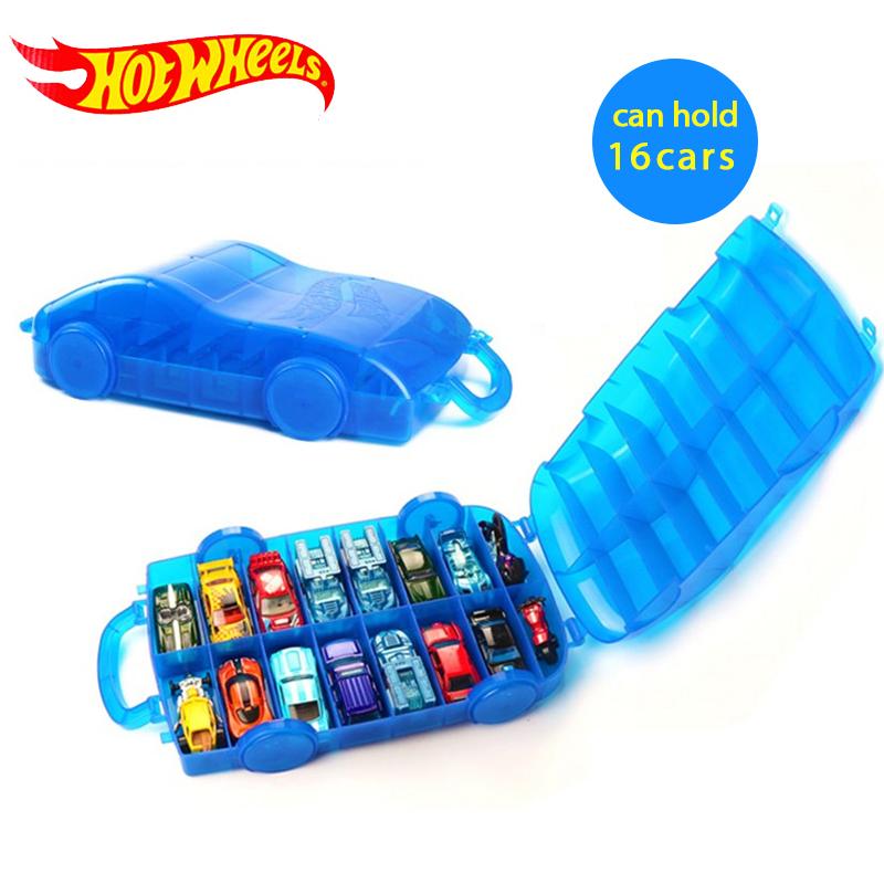 Hot Wheels 2018 Portable Plastic storage box Hold 16Sports models Car Toys Educational Truck Toys Best Boy Juguetes Gift DWN56