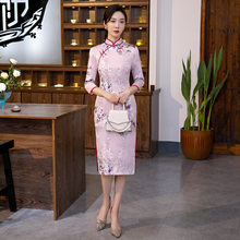 Traditional Cheongsam Printed Qipao Chinese Style Retro Party Silk Long Dress Women Sexy Knee-length Vintage Qipao(China)