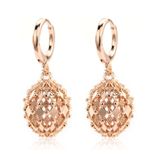 2019 New Fashion Women Gold Earrings Rhombus Hollow Sphere Dangle Drop Hoop Earrings Wedding Jewelry Christmas Gift Wholesale