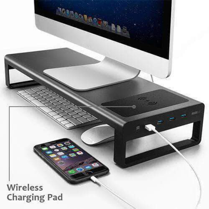Trkee Aluminium Alloy Base Holder Smart 4 USB Port Charger Stand for PC Desktop Laptop