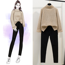 2019 New Winter Suit Women High Collar Thick Loose Knit Sweater Star Black Holes Elastic Waist Skinny Jeans 2 Pcs Knitwear