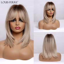 LOUIS FERRE Medium Straight Brown Blonde Ombre Wigs with Ban