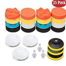 Kit de tampons de polissage en mousse pour voiture, 25 pièces, pour polisseuse, éponge de lavage, disque de polissage de 3 pouces, accessoires automobiles