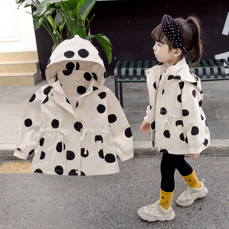 Girls   Trench   Coat 1 2 3 4 5 6 Y Korean Dot Hooded Jacket for Girls Toddler Baby Clothing 2019 Children Outwear Kids Windbreaker