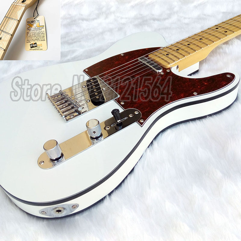 White TL electric guitar, Canada Graph Tech Nut,Italy Gallistrings,maple fingerboard chrome hardware Top in stock