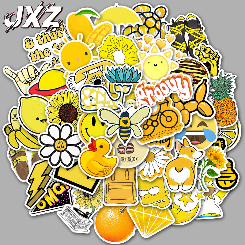 50Pcs/pack Fresh Yellow Cartoon Stickers For Chidren Toy Waterproof Sticker To DIY Luggage Suitcase Laptop Bicycle Fridge Decals