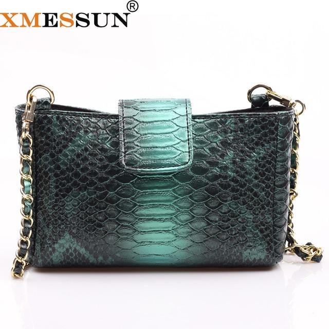 Женская сумка через плечо XMESSUN, модная дизайнерская сумка из кожи питона с тиснением, 2020