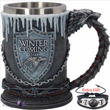 Game of Thrones House Stark Mug The Seven Kingdoms Goblet Winter is Coming Stainless Steel 3D Coffee Mug Drinkware Cup(China)