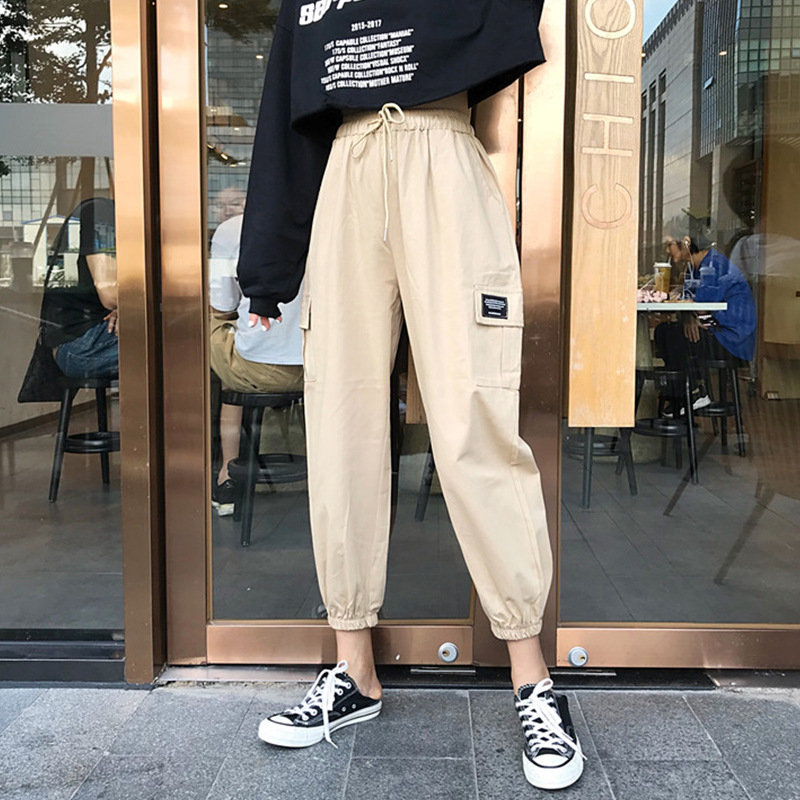 Junior High School STUDENT'S Bib Overall Women's Loose-Fit Korean-style Students Harajuku Beam Leg Social Pants Women's Slimming