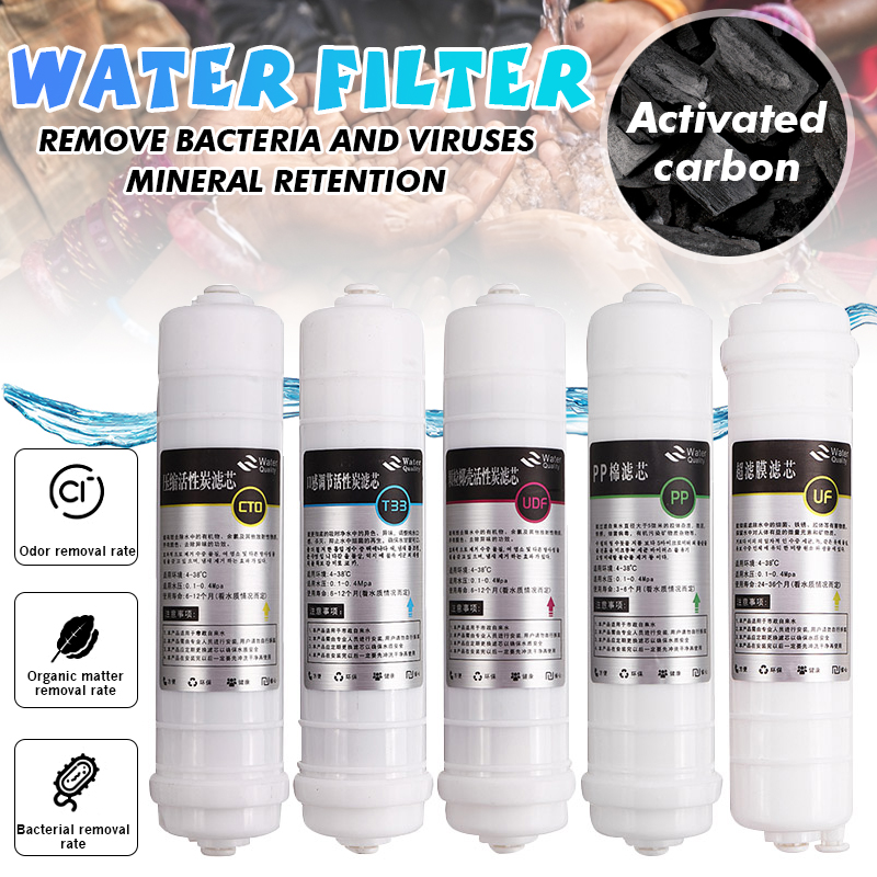5 Pcs Reverse Osmosis RO Water Filters Replacement Set 10 Inch Water Filter Cartridge PP+CTO+UDF+UF+T33 For DIY Water Purifier