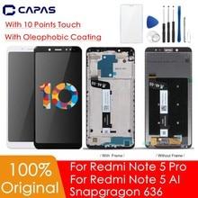 Original para xiaomi redmi nota 5 pro display lcd para redmi nota 5 tela + quadro snapdragon 636 tela de toque peças reposição