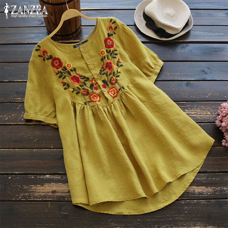 Women's Embroidery Blouse 2019 ZANZEA Kaftan Linen Tops Button Floral Blusas Female Short Sleeve Shirt Pleated Tunic Oversized