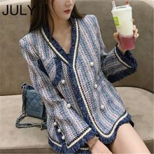 JULY Blue White Striped Tweed Jacket 2019 Winter Women Long Sleeve V Neck Elegant Overcoat Bead Pearls Tassels Cardigan Coat