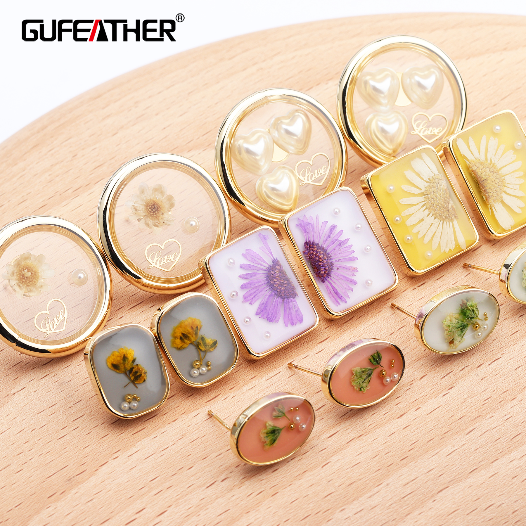 GUFEATHER M632,jewelry Accessories,925 Silver Needle,resin,dried Flower,jump Ring,diy Earring Pendant,jewelry Making,6pcs/lot