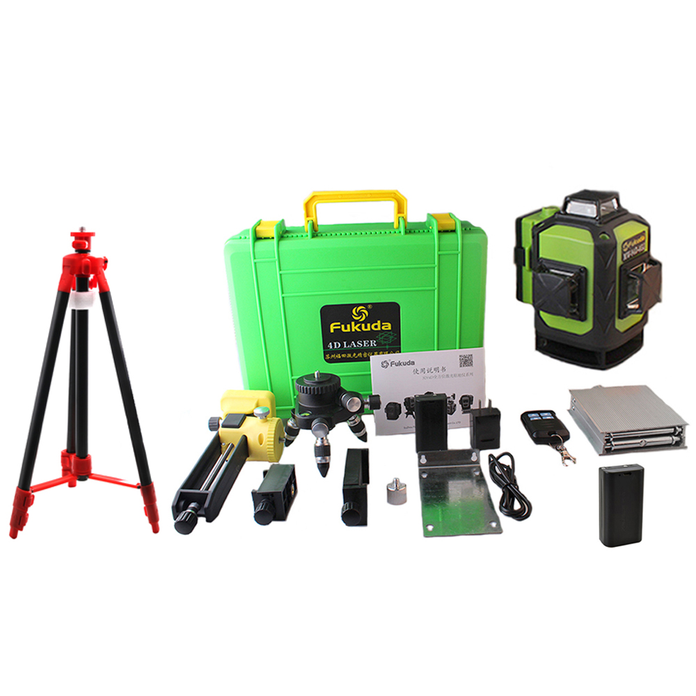2Pcs Battery Fukuda Professional 16 Line 4D laser level 532NM Green Beam 360 Vertical And Horizontal Self-leveling Cross