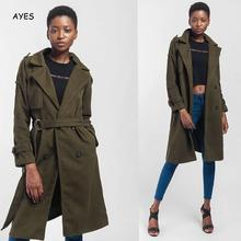 Fashion Women Green Long Trench 2019 Autumn Casual Double Breasted Simple Classic Coat Belt Chic Female Windbreaker