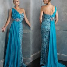 free shipping 2018 design One Shoulder Blue Party crystal beading chiffon Prom Formal Evening Gown