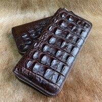 Authentic Crocodile Skin Men's Brown Card Holders Long Wallet Zipper Closure Exotic Genuin Alligator Leather Male Clutch Purse