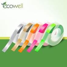Ecowell 5rolls 9MM 3D plastik renkli kabartma bantlar kabartma etiket makineleri için DYMO 1011 1610 12965 1880 MOTEX e101 E303