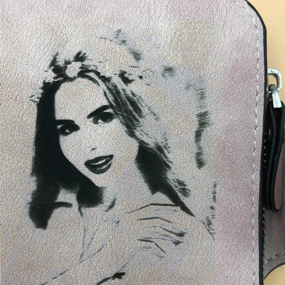Zdjęcie grawerowanie portfele damskie moda PU skórzane etui na karty krótkie Desigh wysokiej jakości torebka damska etui na monety portfele damskie