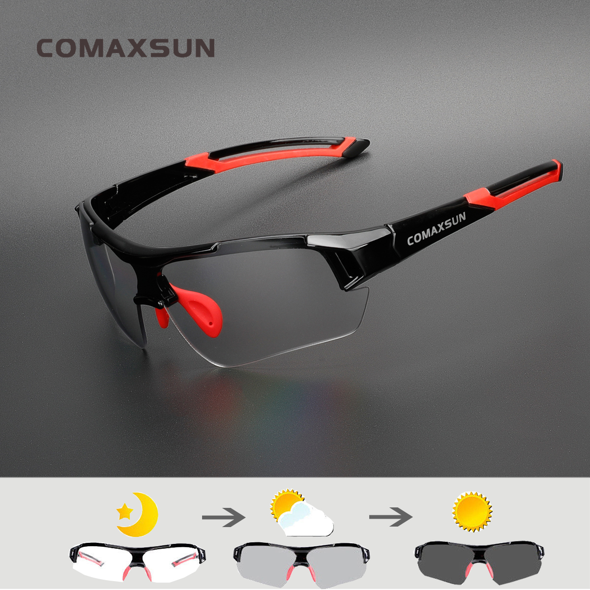 COMAXSUN Photochrome Radfahren Gläser Verfärbung Gläser MTB Rennrad Sport Sonnenbrille Fahrrad Brillen Fahrrad Brille 2 Stil