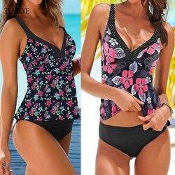 TYAKKVE 2020, танкини, купальник размера плюс, для женщин, Ретро стиль, большой купальник, пляжная одежда, принт, купальник, высокая талия, женский ... 1
