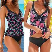 TYAKKVE 2020 Tankini Badeanzug Plus Größe Frauen Vintage Push-Up Bikini Bademode Bademode Druck Badeanzug Weibliche schwimmen anzug