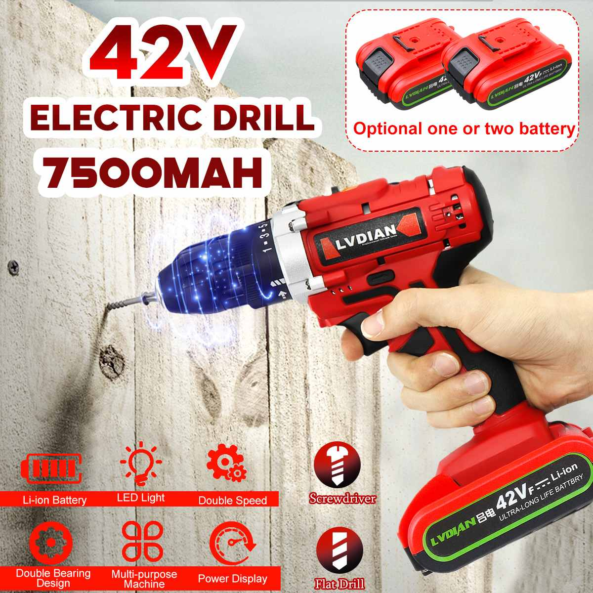 42V Electric Drill Electric Cordless Impact Drill Double Speed 50Nm Screwdriver 25+1 Torque Power LED Light 2 Battery Polisher