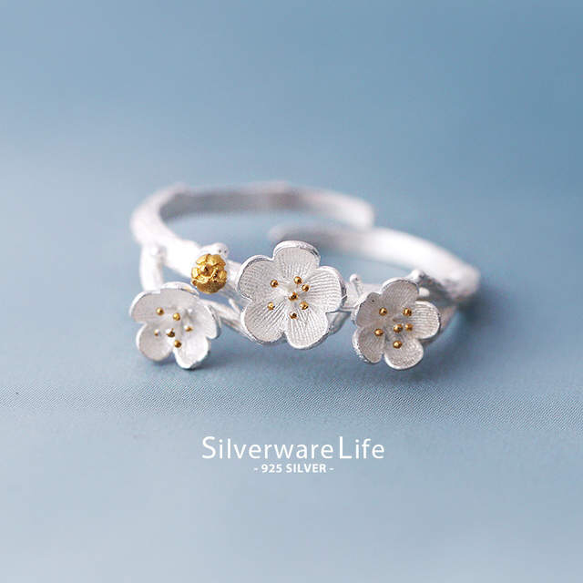 New Arrival Elegant 925 Sterling Silver Plum Flower Rings For Women Adjustable Size Finger Ring Fashion Jewelry