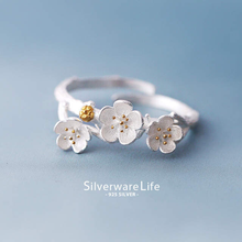 New Arrival Elegant 925 Sterling Silver Plum Flower Rings For Women Adjustable Size Finger Ring Fashion Jewelry(China)
