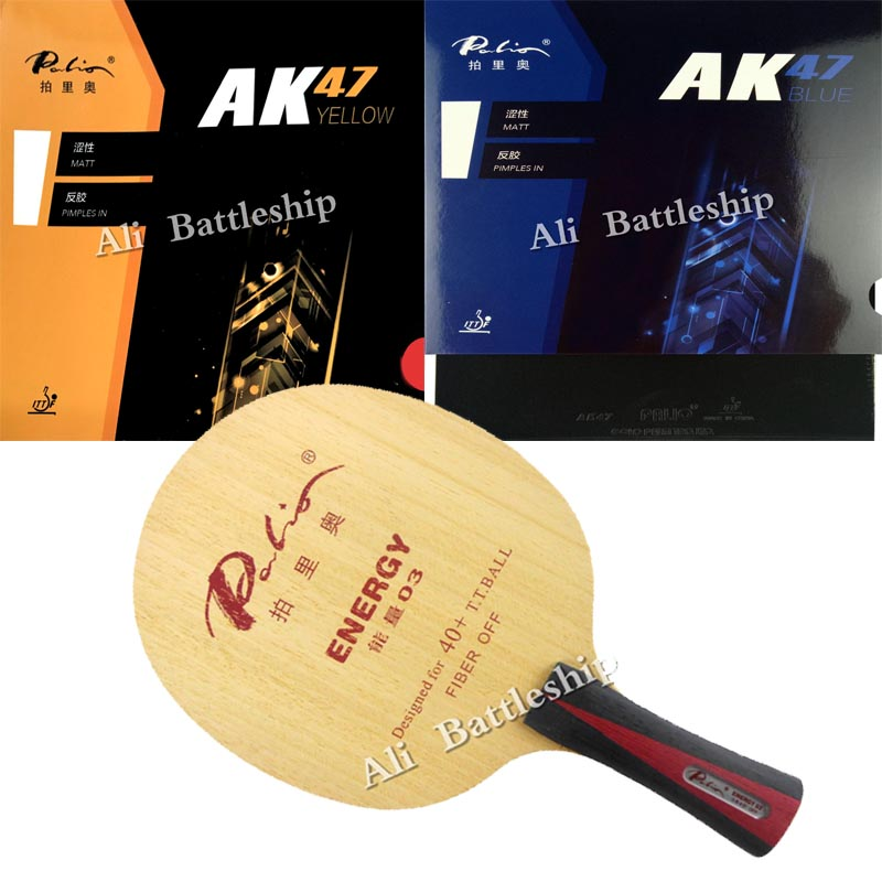 Pro Combo Racket Palio Energy 03 Table Tennis Pingpong Blade  With Palio AK 47 BLUE And Palio AK47 Yellow Table Tennis Rubber