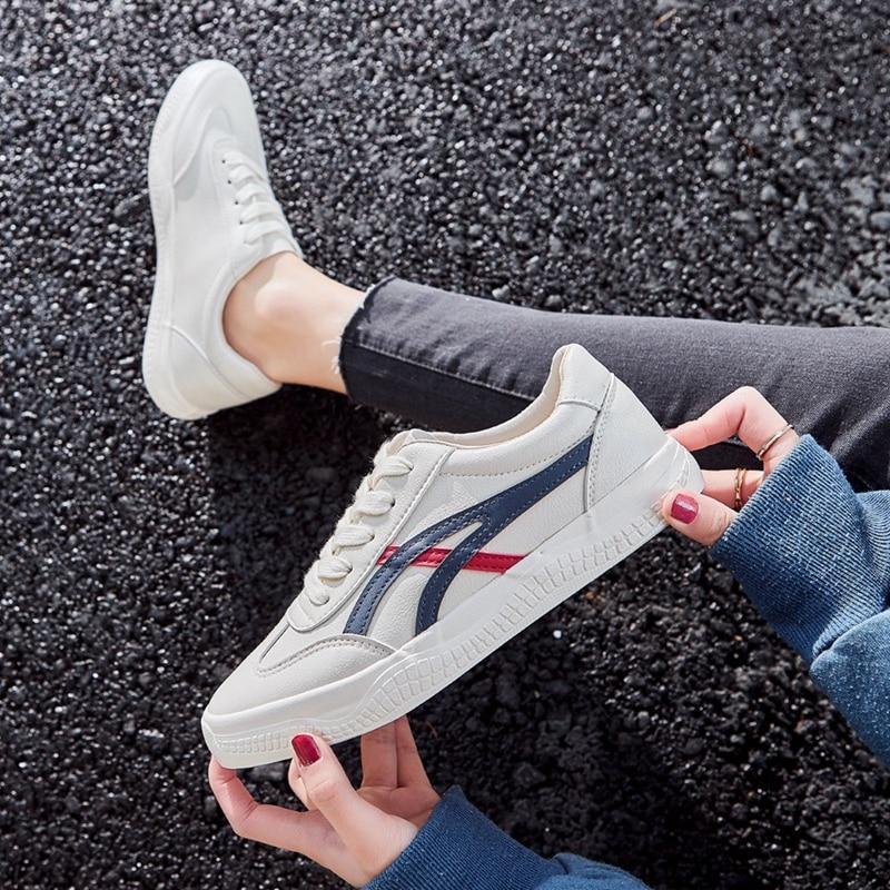 ZHR 2020 Fashion White Split Leather Women Sneakers White Shoes Lace Up Tenis Feminino Zapatos De Mu
