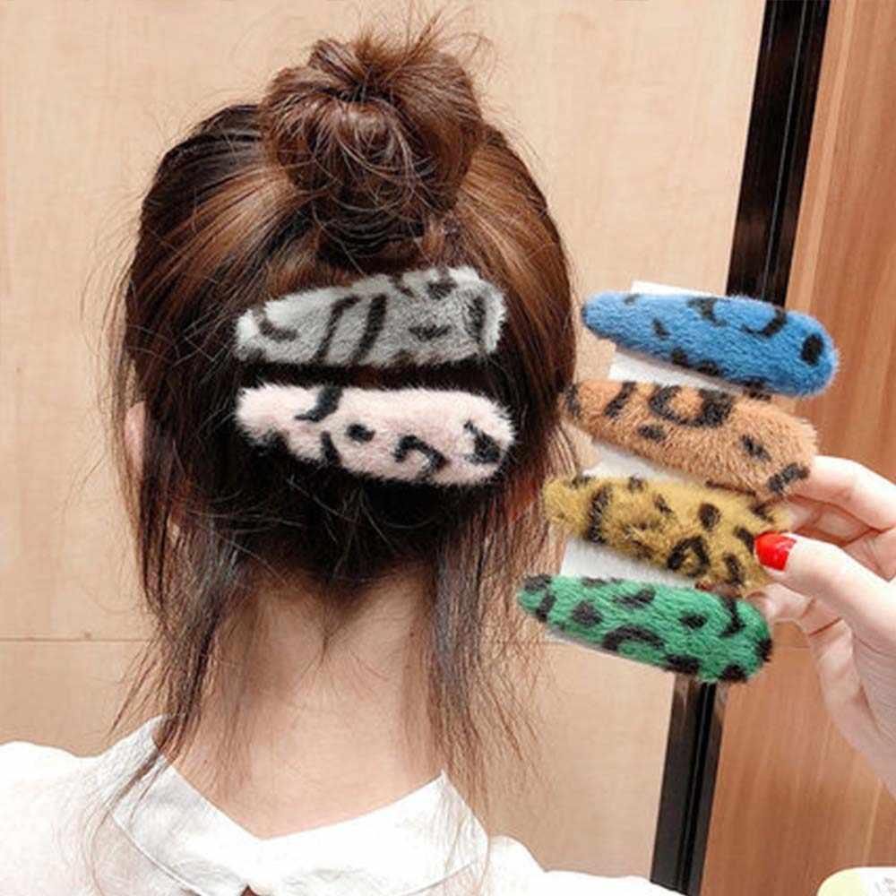 2/1pcsNew Heißer Korea Winter Plüsch Haarnadeln Feste Farbe Faux Pelz Haar Clips Mädchen Barrettes Mode Kinder Weichen haar Zubehör