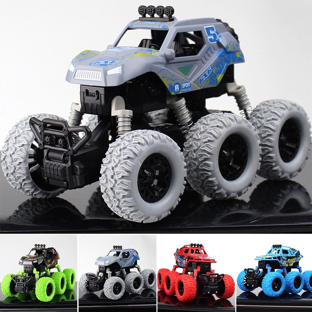 6 Wheel Drive Anti Shock 360 Degree Flipping Off Road Vehicle Gift Model Toys Outdoor Alloy Monster Truck Friction Powered