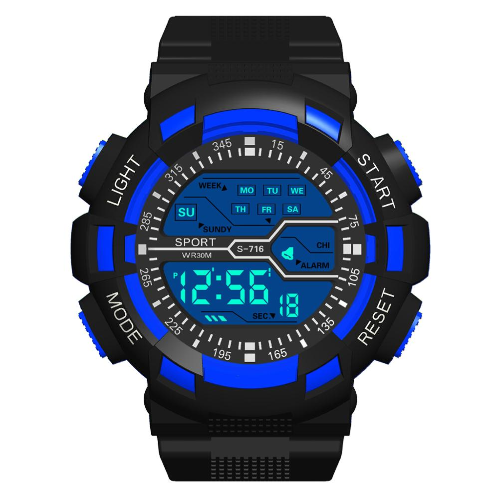 Man Watch HONHX Man Sports Watch Famous Watch LED Digital Wrist Watches Silicone Strap Male Clock relogio masculino 71-716