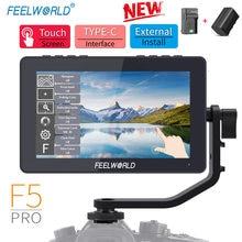 FEELWORLD-Monitor de campo F5 Pro para cámara DSLR, pantalla táctil IPS FHD1920x1080 4K HDMI, asistencia de enfoque de vídeo para plataforma de cardán, 5,5 pulgadas