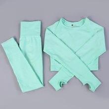 Женский бесшовный комплект для йоги S-XL Vital, спортивные костюмы для фитнеса, рубашки с длинным рукавом, леггинсы с высокой талией для бега и т...