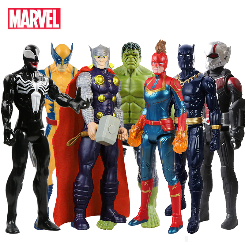 30cm Marvel Avengers Spiderman Venom Hulk Black Panther Ant Iron Man Captain America Thor Wolverine Thanos Action Figure Kid Toy