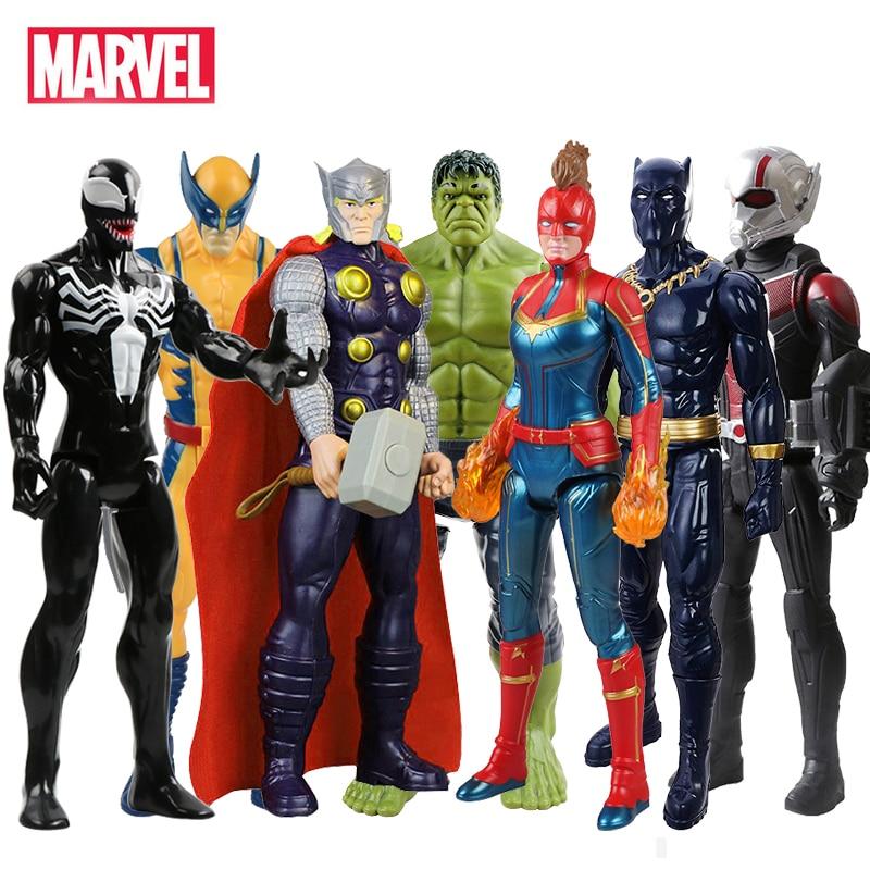 30cm Marvel Avengers Venom Hulk Black Panther Ant Man Captain America Thor Wolverine Thanos Action Figure Kid Toy For Children