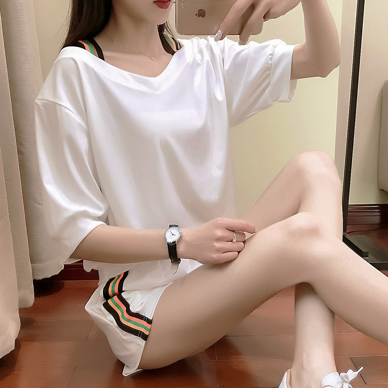 Summer Fashion WOMEN'S Suit 2019 Korean-style Loose-Fit Camisole Students V-neck Short Sleeve Shorts Casual Sports Two-Piece Set