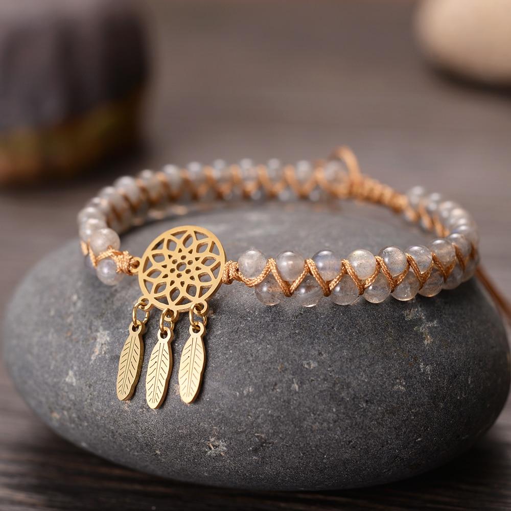 Golden Dream Catcher Charm Bracelets Handmade 4mm Stones Braided Infinite Men Women Hope Jewelry