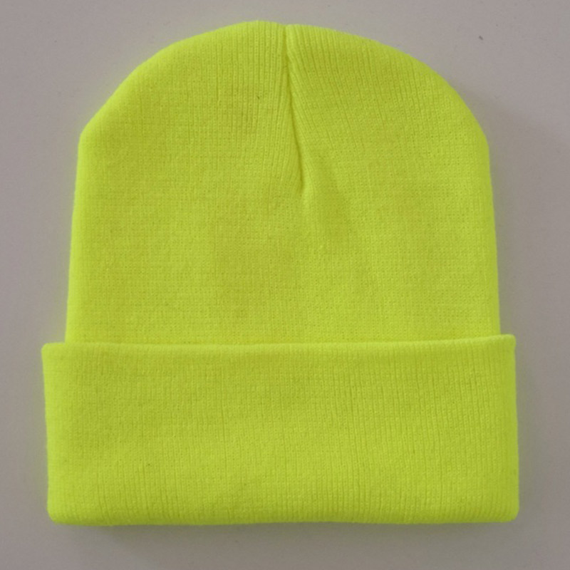 Plain Knit Skull Hats Men Women Cuffed Beanie Cap Stretchy Lightweight Acrylic Yarns Neon Yellow Neon Green Orange Brown Black